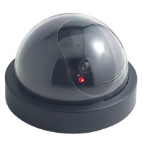 Dummy Indoor/Outdoor Security Dome Camera with Red Flashing LED Light