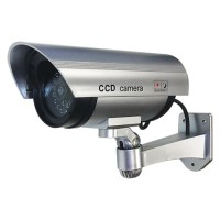 Dummy Indoor/Outdoor Security Bullet Camera with Red Flashing LED Light